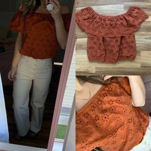 Burnt orange crochet off shoulder crop top s